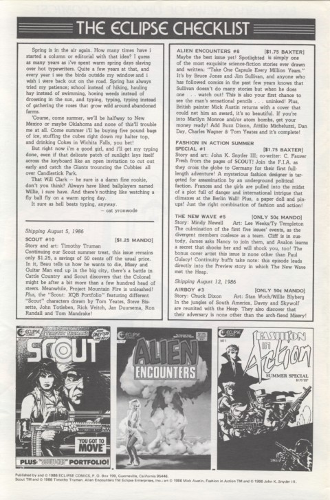 Eclipse Extra! No. 20 August 1986 Page 2