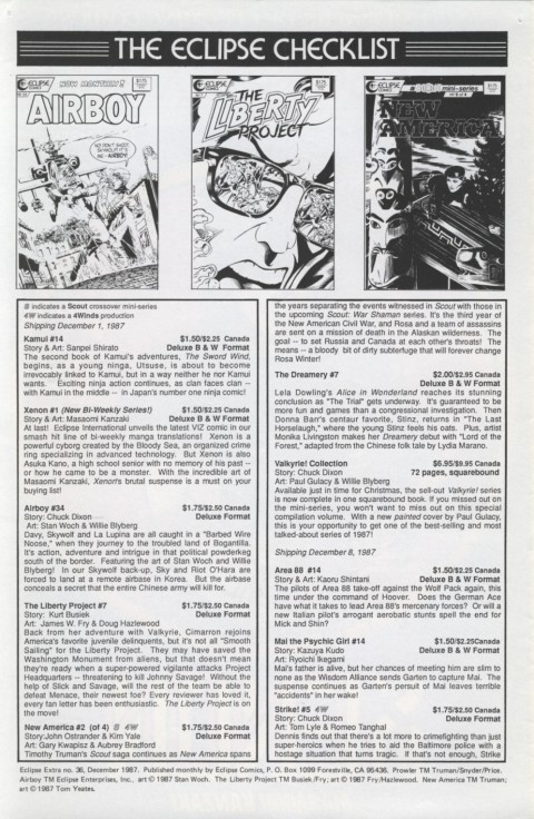 Eclipse Extra! No. 36 December 1987 Page 2