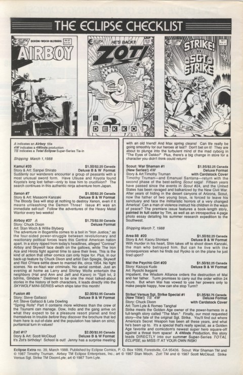 Eclipse Extra! No. 39 March 1988 Page 2