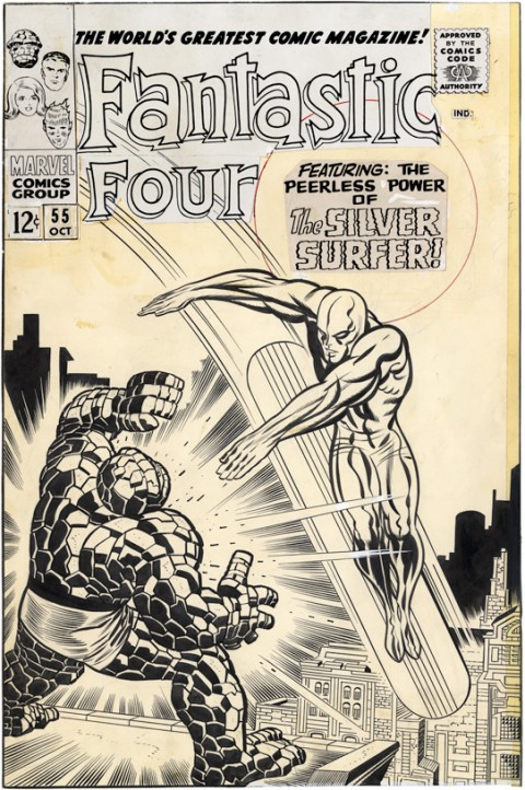 Fantastic Four issue 55 cover by Jack Kirby and Joe Sinnott.  Source.