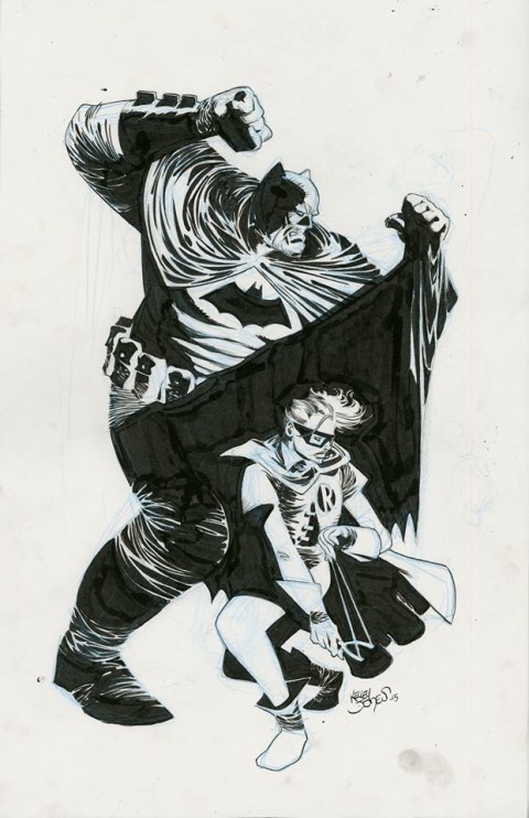 The Dark Knight and Robin by Kelley Jones.  Source.