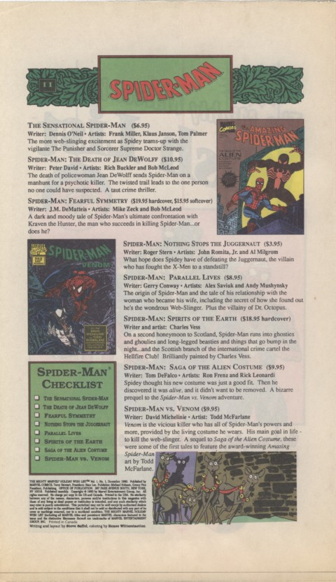 The Mighty Marvel holiday Wish List 1990 Page 2