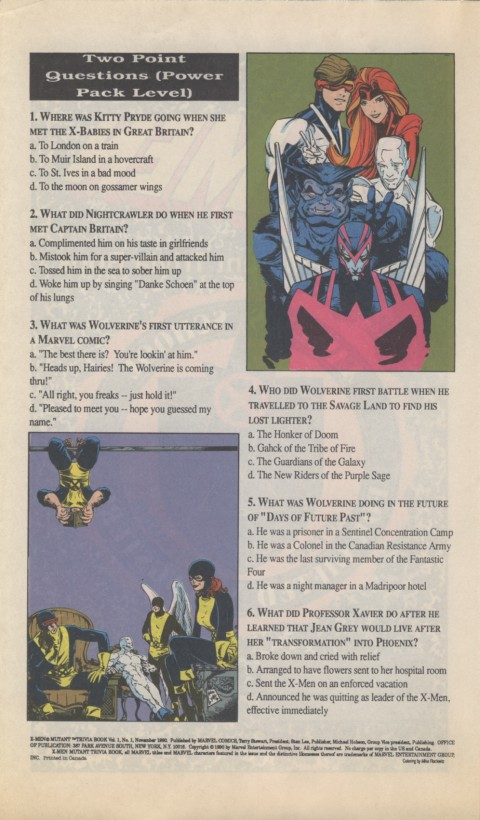 The X-Men Mutant Trivia Book 1990 Page 2