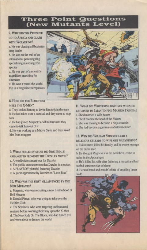 The X-Men Mutant Trivia Book 1990 Page 3