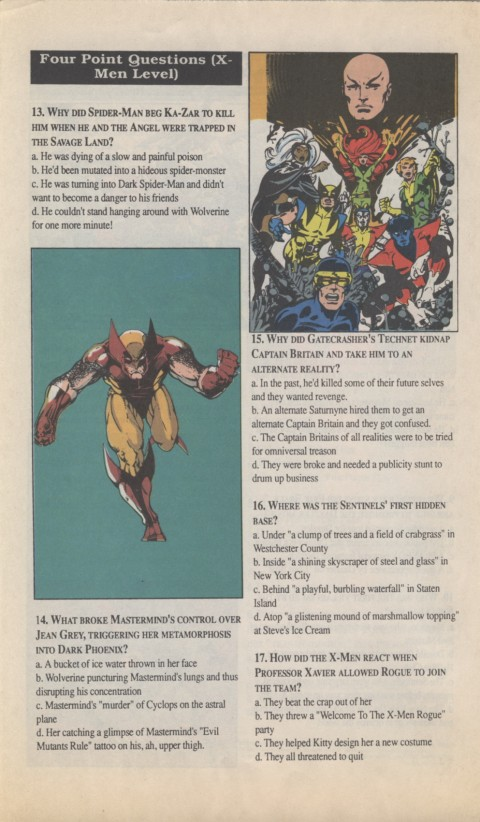 The X-Men Mutant Trivia Book 1990 Page 4