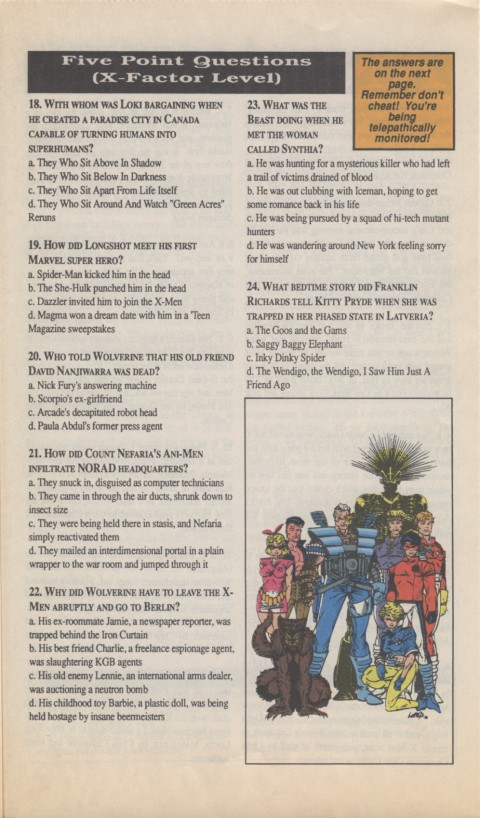 The X-Men Mutant Trivia Book 1990 Page 5