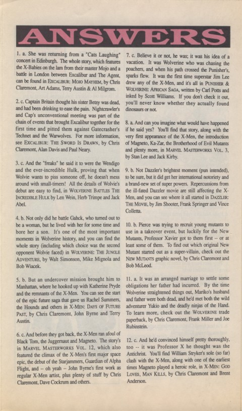 The X-Men Mutant Trivia Book 1990 Page 6