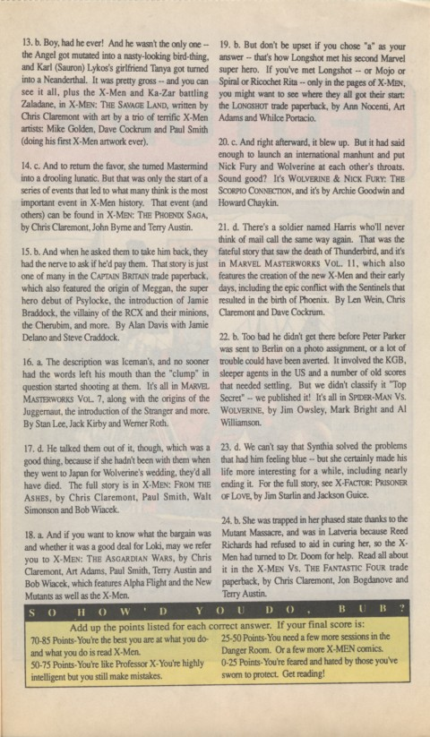 The X-Men Mutant Trivia Book 1990 Page 7