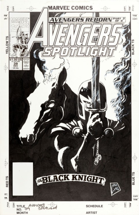 Avengers Spotlight issue 39 cover by Steve Lightle.  Source.