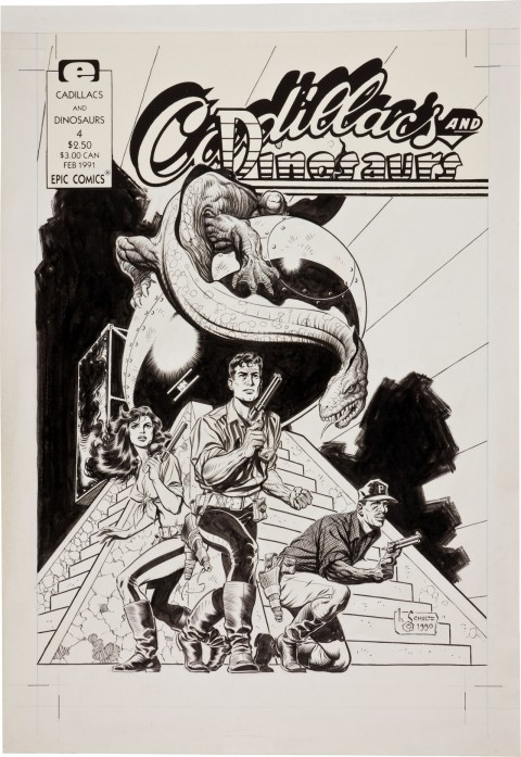 Cadillacs and Dinosaurs  issue 4 cover by Mark Schultz.  Source.