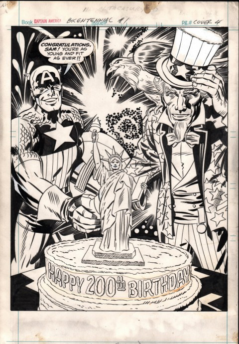 Captain America's Bicentennial Battles back cover by Jack Kirby and Frank Giacoia.  Source.