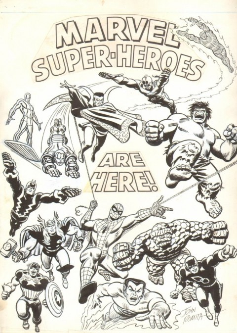 Marvel Super-Heroes Are Here! by John Romita.  Source.