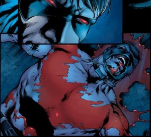 "Oh hey, it's Nightwing's ""symbol""…but in blood. That's clever eh?"