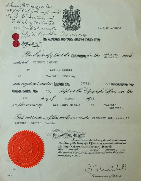 Document with Leo signing over the rights to Johnny to Cy Bell in late 1944.