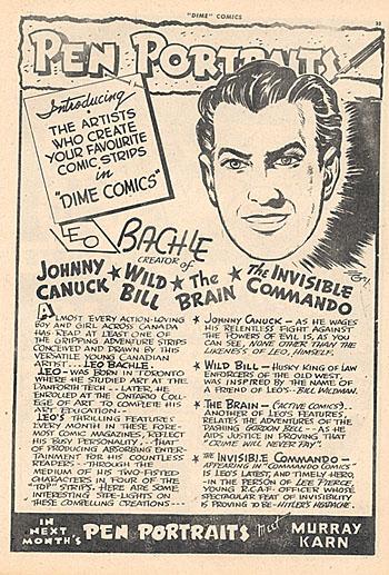 Leo Bachle Pen Portrait from Dime Comics No. 10.