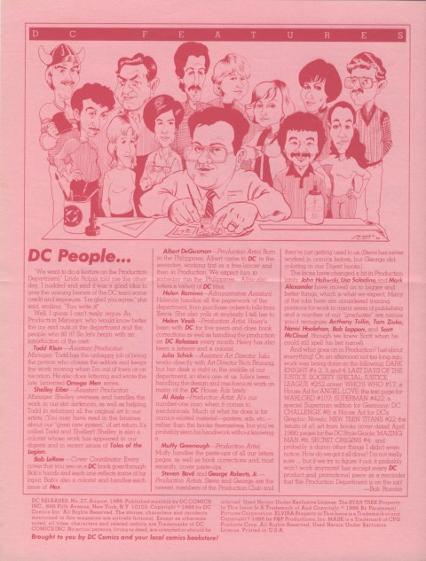 DC Releases August '86 page 4