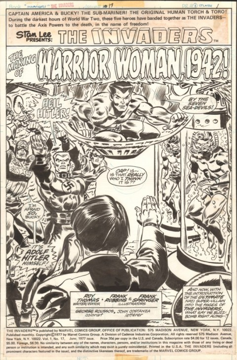 Invaders issue 17 splash by Frank Robbins and Frank Springer.  Source.