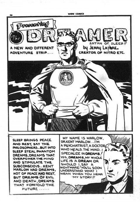 The first appearance of The Dreamer from Wow Comics 24