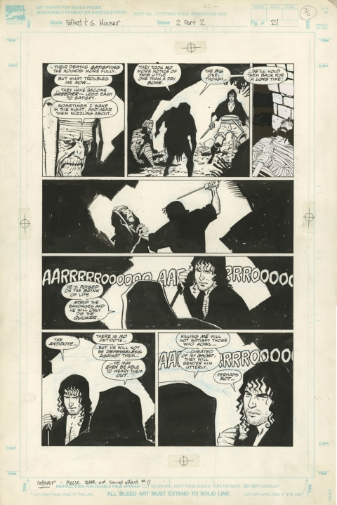 Fafhrd and the Gray Mouser issue 2 page 21 by Mike Mignola and Al Williamson.  Source.