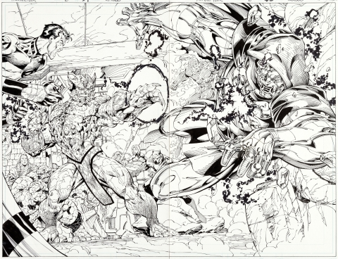 Fantastic Four issue 6 pages 4-5 by Jim Lee and Scott Williams.  Source.
