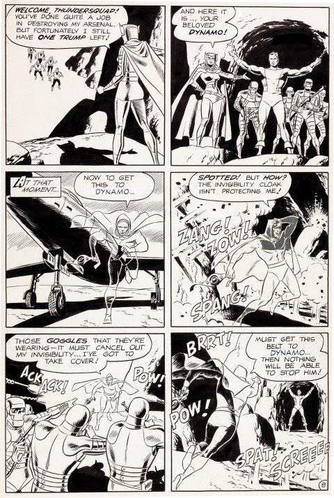 THUNDER Agents issue 1 page 8 by Wally Wood and Dan Adkins. Source.