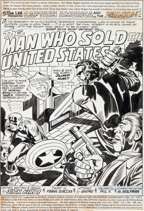 Captain America issue 199 splash by Jack Kirby and Frank Giacoia.  Source.