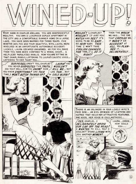 Crime Suspenstories issue 19 page 1 by George Evans.  Source.