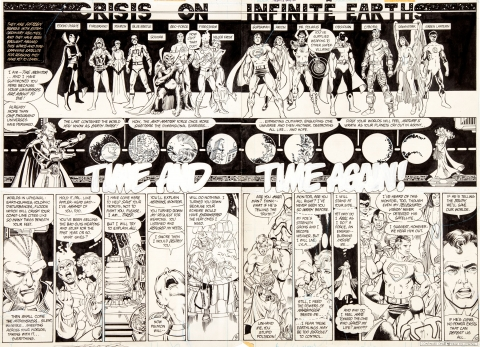 Crisis On Infinite Earths issue 2 pages 9-10 by George Perez and Dick Giordano.  Source.