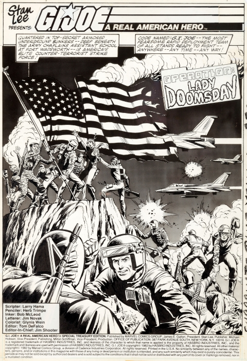 G.I. Joe A Real American Hero issue 1 splash by Herb Trimpe and Bob McLeod.  Source.