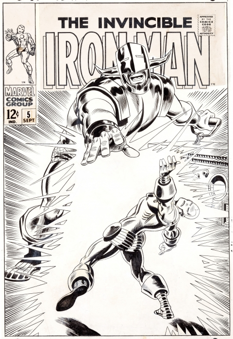 Iron Man issue 5 cover by George Tuska and Frank Giacoia.  Source.