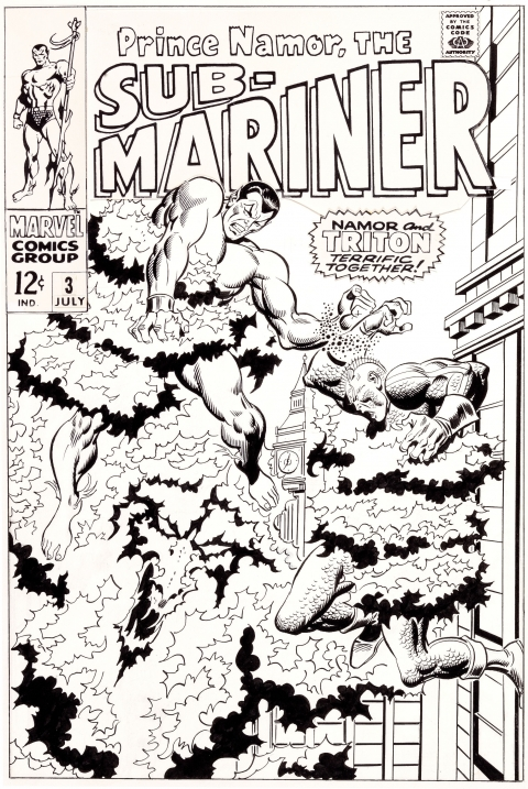 Sub-Mariner issue 3 cover by John Buscema and Frank Giacoia.  Source.