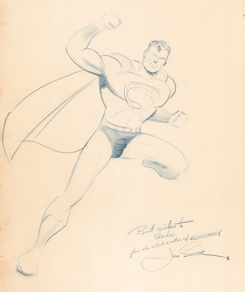 Superman by Joe Shuster.  Source.