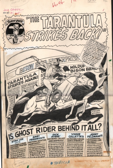 The Ghost Rider issue 5 splash by Dick Ayers and Vince Colletta.  Source.