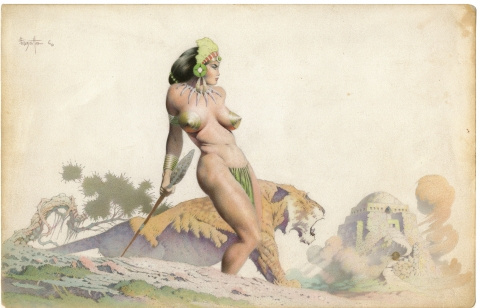 The Lion Queen by Frank Frazetta