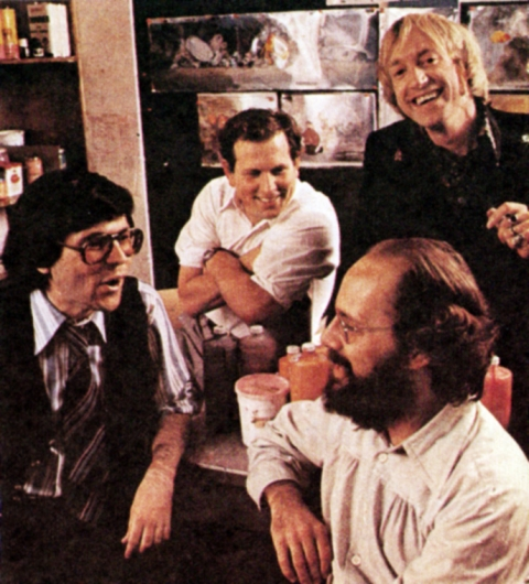 """Loubert, Hirsh, Smith, and Frank Nissen discussing """"Cosmic Christmas"""""""