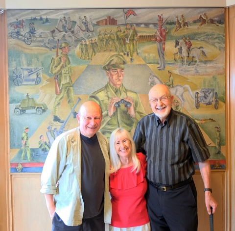 Me, Patti and Bob Hamilton in front of Doris Titus' painting tribute to the 56th Brantford Artillery Regiment
