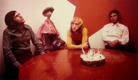 "Hirsh, ""Smith, and Loubert celebrating Johnny Canuck's birthday"