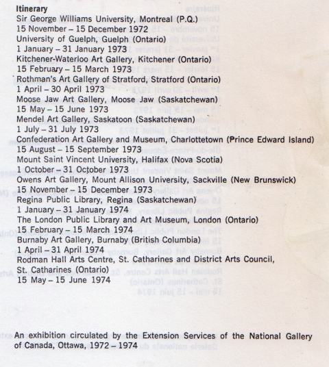 Itinerary for the touring display of original Bell Features art work.