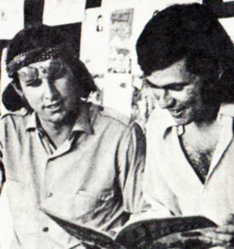 Patrick Loubert and Michael Hirsh reading an original copy of Dime Comics in 1971