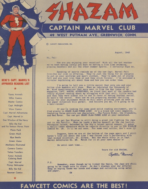 The Fawcett letter from August 1945.