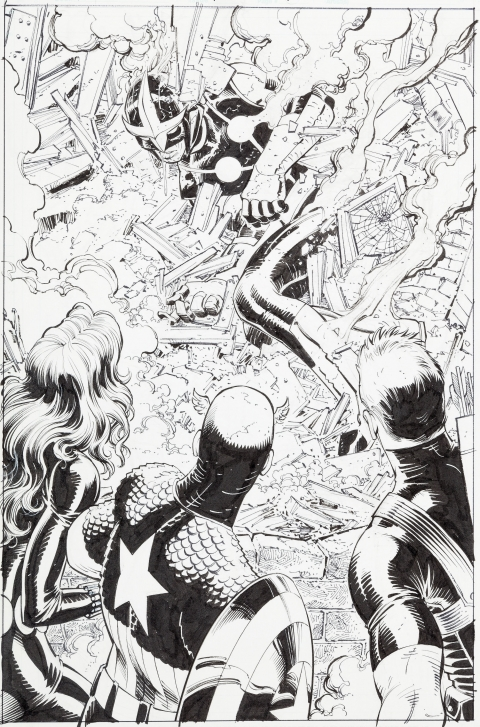 Avengers Vs. X-Men issue 1 page 13 by John Romita Jr. and Scott Hanna.  Source.