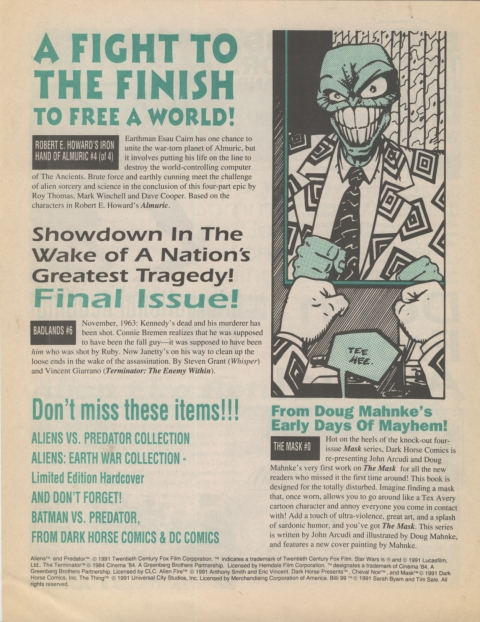 Dark Horse Insider December 1991 page 8