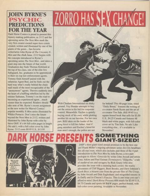Dark Horse Insider November 1991 page 4