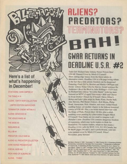 Dark Horse Insider November 1991 page 8