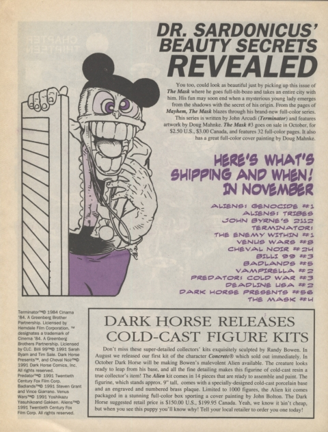 Dark Horse Insider October 1991 page 8