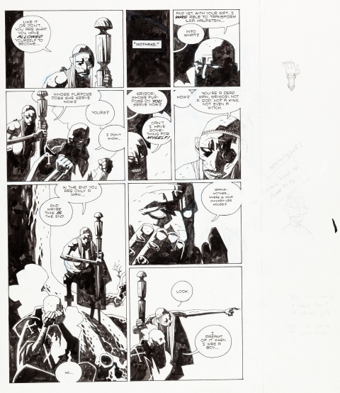 Hellboy Wake The Devil TPB epilogue page 3 by Mike Mignola.  Source.