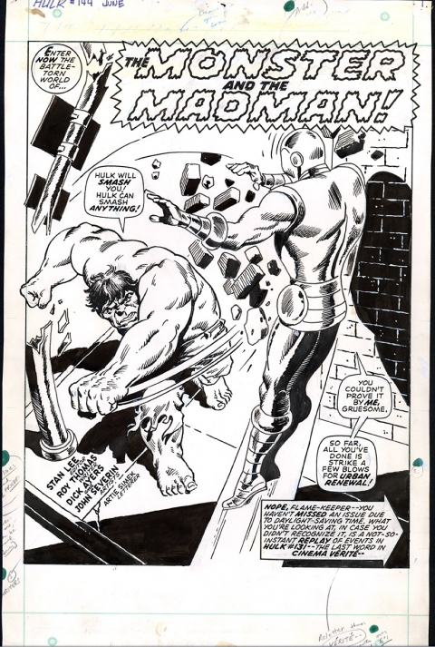 Incredible Hulk issue 144 splash by Dick Ayers and John Severin. Source.
