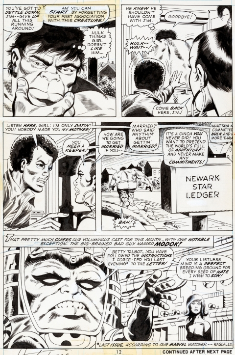 Incredible Hulk issue 168 page 9 by Herb Trimpe and Jack Abel.  Source.
