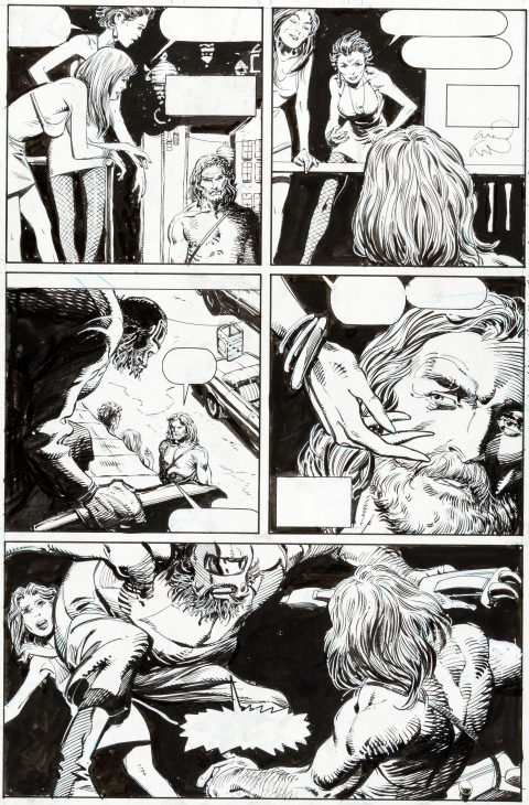 X-O Manowar issue 1 page 14 by Barry Windsor-Smith and Bob Wiacek.  Source.
