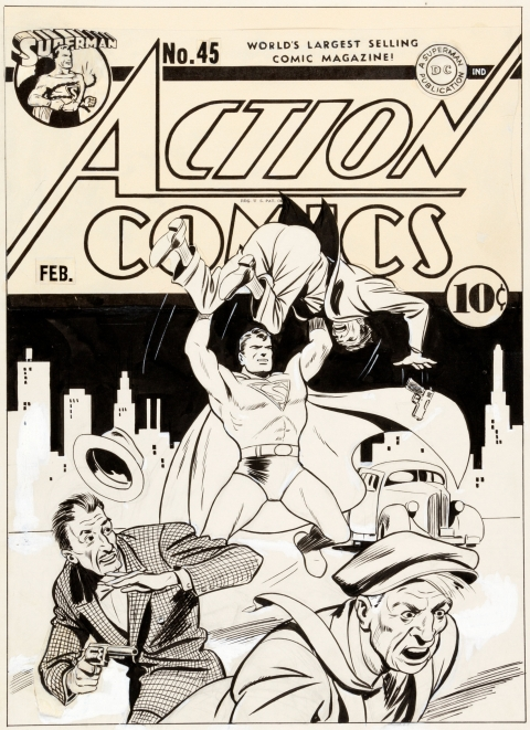Action Comics issue 45 cover by Fred Ray.  Source.